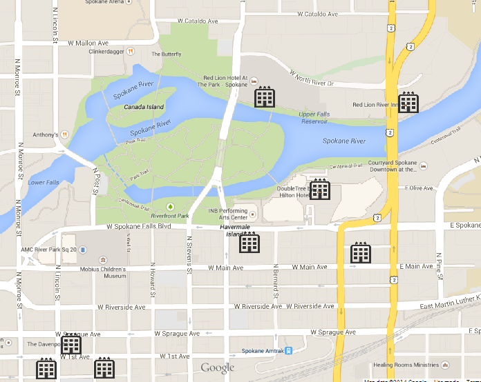 Downtown Spokane map