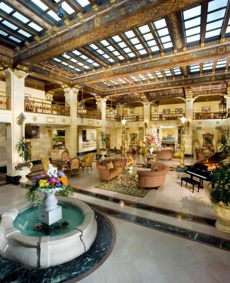 The Davenport Hotel lobby and fountain