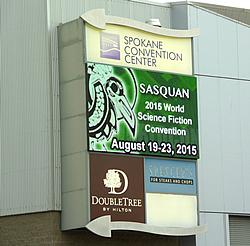 Convention Center entrance and sign